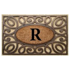 A1 Home Collections Rubber and Coir Elegant Circles Princess Doormat Monogrammed R, Large -- Click on the image for additional details. (This is an affiliate link and I receive a commission for the sales)