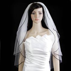 Bridal Wedding Veil Ivory 2 Tiers Fingertip Length 1/8in Black Satin Cord Edge * This is an Amazon Affiliate link. Check this awesome product by going to the link at the image.