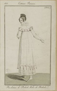 """1813 Costume Parisien #1324 """"Par-dessus de Perkale, Robe de Perkale"""" ----- decorations to die for."""