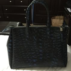 """Gianni Chiarini design handbag Very cute, used for 2 days like new condition w/ one very small imperfection (3rd picture, picture on the bottom right) measurements are 19""""13""""6 strap drop is 7 inches...comes with dustbag...blue, black and green uniquely designed Gianni charini  Bags Satchels"""