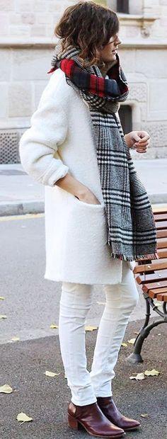 @roressclothes clothing ideas #women fashion street style all white plaid scarf