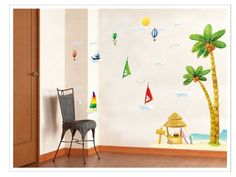 wall stickers -YYone Seascape with Sailing Boats Coconut Tress Hydrogen Balloon Cloud and Sun Removable Wall Sticker for Room Wall