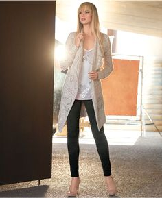 INC International Concepts Open-Front Pointelle Cardigan