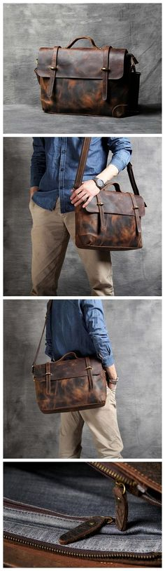 LEATHER BRIEFCASE, LEATHER LAPTOP BAG, MENS BRIEFCASE, SLIM PORTFOLIO BAG, MAN'S BRIEFCASE OAK-056