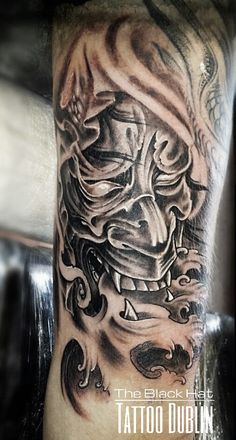 Japanese face mask tattoo on forearm Japanese Forearm Tattoo, Japanese Tattoo Art, Forearm Tattoos, Cool Tattoos, Tatoos, Japanese Face, Mask Tattoo, Tattoo Studio, Portrait