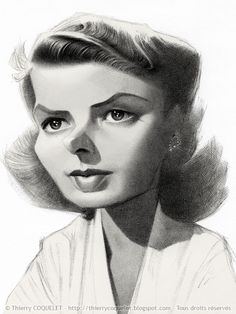 Ingrid Bergman, by Thierry Coquelet. Ballpoint on paper.