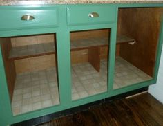 Using vinyl peel & stick tiles to line your kitchen cupboards and drawers....brilliant!