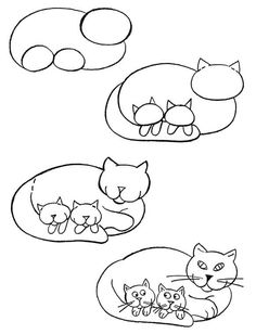 How to draw cat with kittens