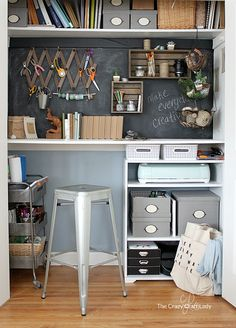 Cute Organized Craft Closet - My Closet Desk Craft Room And Home Office All In One Diy Closet Computer Desk Decor, Craft Room Closet, Home Office Furniture, Small Craft Rooms, Diy Craft Room, Craft Desk, Converted Closet, Room Inspiration, Home Office Closet