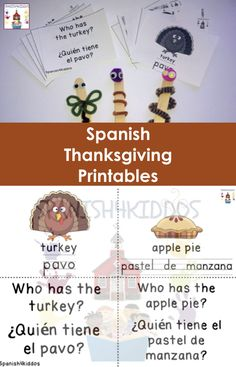 Free Spanish Thanksgiving Printables and Activities to boost bilingual learning
