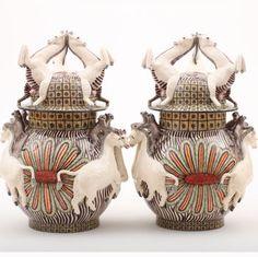 Ardmore Ceramics Zebra Monkey Tureen Pair AAA