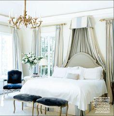 Pale blue and cream silk corona, bedskirt, curtains, deep blue velvet, chandelier - Dan Carithers in an Atlanta home