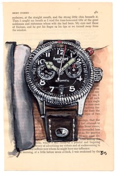 the Hanhart Pioneer Monocontrol fashion illustration Watercolour Drawings, Sketch Painting, Watercolor Art, Silhouette Mode, Watch Blog, Masculine Cards, Fantasy Artwork, Luxury Watches, Illustration Art