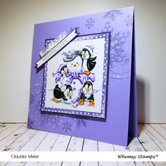 Claudia's Karteria: Lila Schneemanbautraum | Purple snow growing dream... Viva Decor, Whimsy Stamps, Prismacolor, I Card, Snowman, Christmas Cards, Projects To Try, September, Well Well