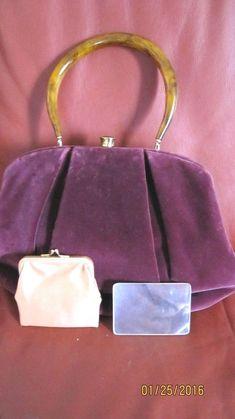 Women's Lush bugundy Velvet Tourtose Shell Handle Handbag #MorrisMoskowitz #EveningBag