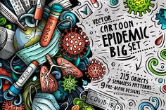 Epidemic Cartoon Doodle Big Pack This is a vector pack with EPIDEMIC objects and decorative elements, cute pre-made compositions, and seamless patterns. Doodle Art Designs, Wall Art Designs, Doodle Art Drawing, Art Drawings, Doodle Cartoon, Cartoon Logo, Postcard Invitation, Craft Stickers, Wallpaper Decor