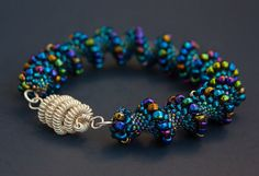 Blue Beaded Cellini Spiral Bracelet by kurpisz on Etsy, $175.00