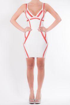 2be8565ac549 Bianca - Cream panelled bandage dress