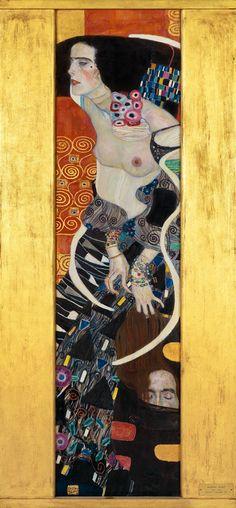 'Judith II (Salomé),' 1909, by Austrian Symbolist painter Gustav Klimt (1862-1918). Oil on canvas, 176 x 46 cm. via Fondation Beyeler