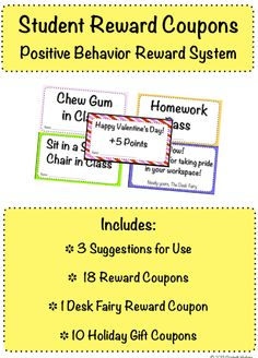 29 Student Reward Coupons to reinforce positive behavior