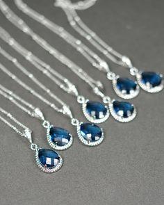 Bridesmaid jewelry sapphire blue silver Drop NECKLACE Wedding Bridal Wedding Dangle NECKLACE Bridal Jewelry Bridesmaid Gift on Etsy, $29.99