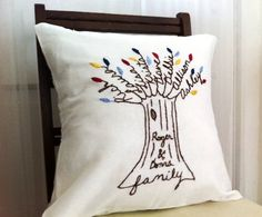 Couples Name Family Tree Personalized Pillow by BlueLeafBoutique, $59.00