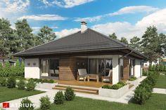 Projekt domu parterowego MORGAN II - wizualizacja 4 Narrow Lot House Plans, Clinic Design, Design Case, Facade, Gazebo, Sweet Home, Layout, Outdoor Structures, House Design