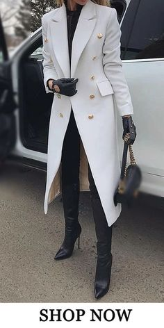Urban Fold Collar Solid Color Button Long Sleeve Coat Casual outfit for fashion women in winter, warming you but not breaking your vogue. Fashion trend in this winter, do not miss the comfy material. Black Women Fashion, Look Fashion, Fashion Outfits, Womens Fashion, Fashion Trends, Fashion Coat, Vogue Fashion, Fashion Clothes, Gloves Fashion