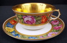 Exquisite Antique Royal Berlin Tea Cup & Saucer