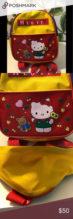 Hello Kitty Vintage small backpack Someone gifted this to me back in 1997 and said their niece had it from the early 80's. There are some spots but in such great condition for its age. Some paint missing on the zipper. I am dismantling my collection from 1996-2000. No trades. No low offers. Hello Kitty Bags Backpacks