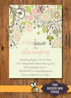 Baby Shower Invitation - Paisley Garden Baby Shower Invitation for Baby GIRL - Baby Sprinkle Invitation - Item 0057g on Etsy, $15.00
