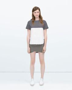 MIXED FABRIC T-SHIRT from Zara