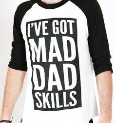 deb894bd Mad Dad Skills Baseball Tee Raglan Baseball Tee, Daddy Bear, Gifts For  Husband,