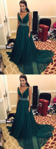 Dark Teal Prom Dress,V-neck Prom Dress,Chiffon Prom Dress with Beaded Waistband,Sleeveless Prom Dress,Sweep Train Long Evening Dress,Formal Dress