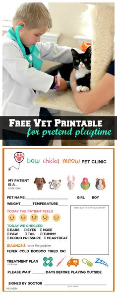 Printable: Vet Office Pretend Play Sheet Printable Vet Office Pretend Play Sheet: Free Printable for Imagination Play Dramatic Play Area, Dramatic Play Centers, Preschool Dramatic Play, Camping Dramatic Play, Vet Office, Pet Clinic, Play Centre, Creative Play, Imaginative Play