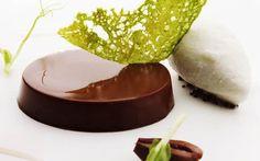 Chocolate cream with black olives, capers ice cream