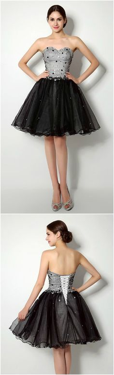 Enchanted 2016 Homecoming Dresses, Prom Dress, Black Sweetheart Neckline Beading Lace-up Prom dress,Short/Mini A Line homecoming dress, 2016 homecoming dress. Find This Lovely Dress from GemGrace.com, Enjoy Free Shipping Today.