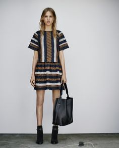 ALLSAINTS WOMEN'S LOOKBOOK AUGUST 2015 LOOK 7. The Arwen Dress, Paradise North South Tote and Victoria Heel Boot