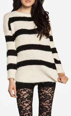 Soft Striped Sweater, lace tights