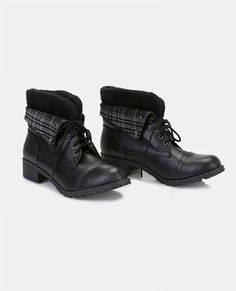 """<p>We are loving these ultra cute combat boots that show off a little tomboy edge. They feature a vegan leather upper, stylized stitching, a sweater foldover cuff with a plaid print, button detail, and a lace-up front with metal eyelets.</p>  <ul> <li>5"""" Shaft</li> <li>1.5"""" Heel</li> <li>Lace-up Closure</li> <li>Lightly Padded Footbed</li> <li>Tread Sole</li> <li>Man Made Materials / Metal</li> <li>Imported</li> </ul>"""