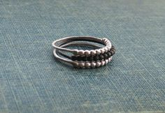 Three Bead Textured Sterling Silver Ring Set  by SDMarieJewelry, $55.00