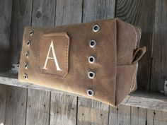 STEAMPUNK custom Toiletry Bag Waxed Canvas by LifetimeLeatherCo, $85.00