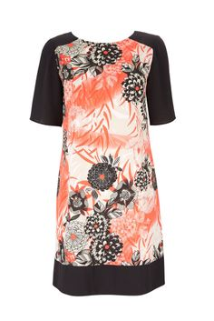 NEW Wallis Orange Red Floral Oriental Shift Tunic Dress 8 10 12 14 16 18 RRP £40