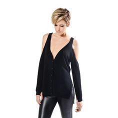 Cold Shoulder Sweater Black - with a draped open back, cutout shoulders, and a high-low hem - definitely for the more independent, edgy set - from Sarah Scott, LA
