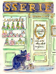 Watercolor painting of Laduree storefront, by Carol G. of Paris Breakfasts