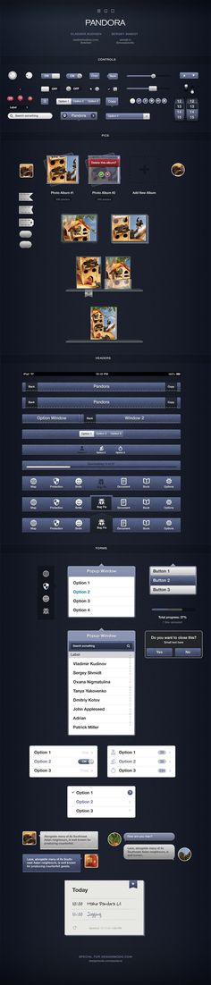 Pandora User Interface Kit for iOS Devices