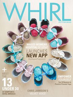 WHIRL: March 2015 / Tap into new pregnancy app! On the cover: Leather baby booties made locally by Christina Roselle, available at Photography: Michael Fornataro. Newly Pregnant, Pregnancy Stages, Great Gifts For Mom, Expecting Baby, Baby Booties, Finding Yourself, March, Product Launch, App