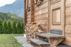 Welcome Home, Firewood, Austria, Mountains, Rustic, Modern, Wood Stone, House, Stairway