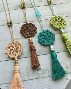 Boho tassel necklace boho crochet pendant 20 long - tinker with wool - . - Boho tassel necklace boho crochet pendant 20 long – tinker with wool – - Crochet Ornaments, Crochet Crafts, Yarn Crafts, Crochet Projects, Diy Projects, Crochet Stitches, Knit Crochet, Crochet Patterns, Boho Crochet