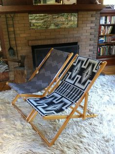 Vintage Indian Summer Chair, Reclining Wood Deck, Pendleton Fabric
